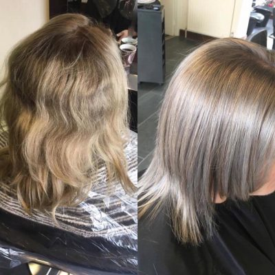 Before and after image of a women with messy, dull hair which has been turned into beautiful, shiny hair
